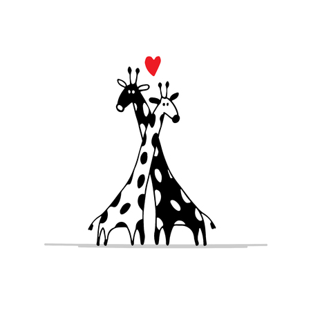 Illustration pour Giraffes couple in love, sketch for your design. illustration - image libre de droit