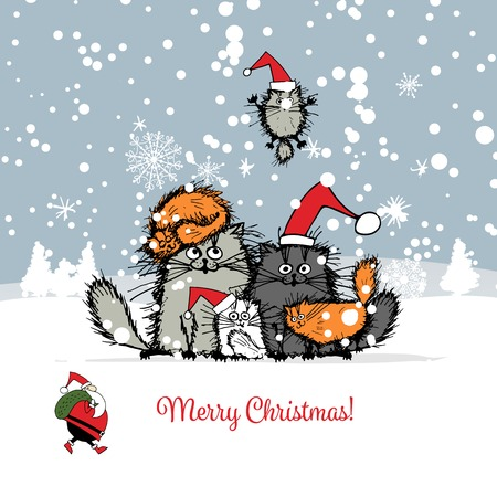Illustration pour Christmas card with happy cats family. illustration - image libre de droit