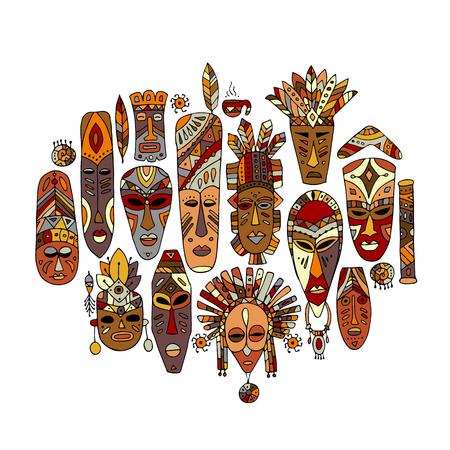 Illustration pour Tribal mask ethnic set, sketch for your design - image libre de droit