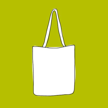 Ilustración de Linen shopping bag, sketch for your design - Imagen libre de derechos