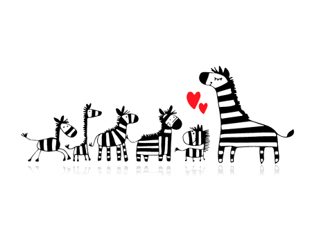 Illustration pour Zebra family, mother and children, sketch for your design - image libre de droit