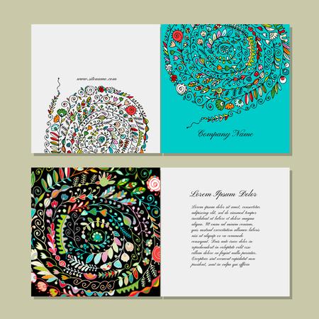 Ilustración de Greeting card design, floral pattern. Vector illustration - Imagen libre de derechos
