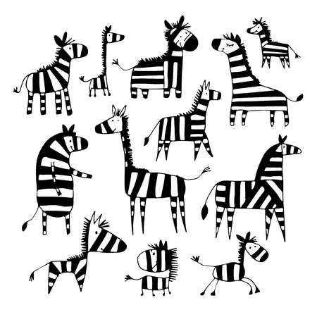 Illustration pour Zebra family, sketch for your design Vector illustration. - image libre de droit