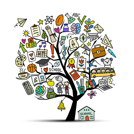 Photo pour Back to school, art tree for your design Vector illustration - image libre de droit