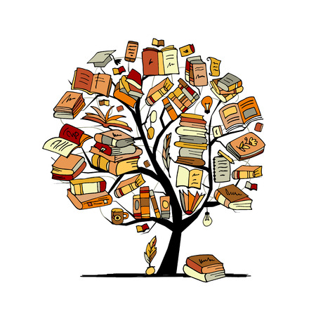 Illustration pour Books tree, sketch for your design. Vector illustration - image libre de droit