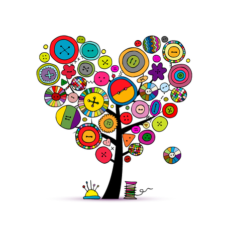 Illustration pour Sew with love, tree with buttons. Sketch for your design - image libre de droit