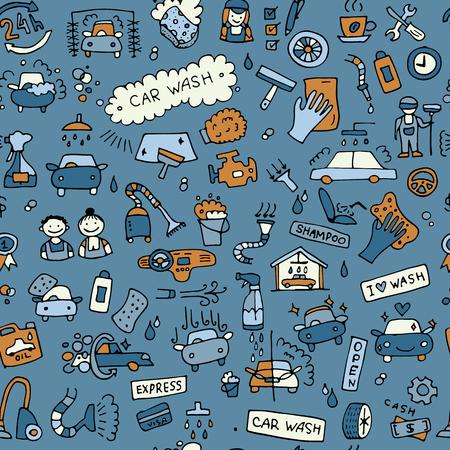 Illustration pour Car washing, seamless pattern for your design - image libre de droit