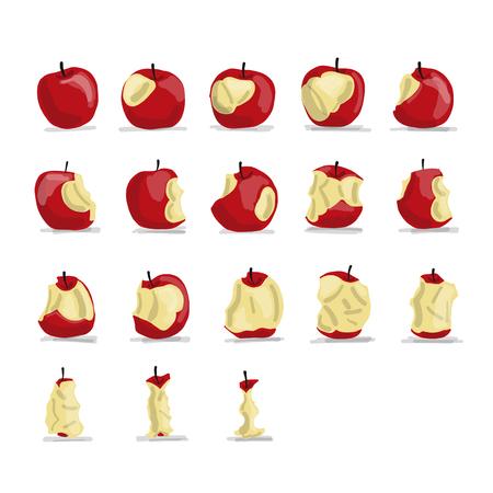 Ilustración de Stages of eating apple, sketch for your design - Imagen libre de derechos