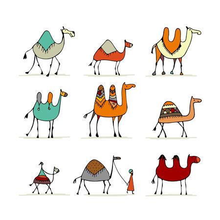 Illustration pour Camel set, sketch for your design - image libre de droit
