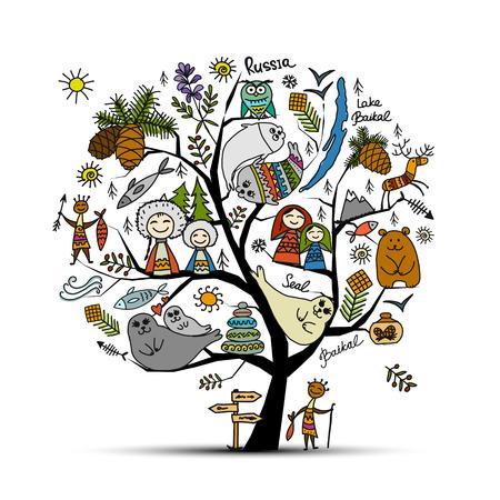 Ilustración de Baikal tree concept, Russia. Sketch for your design - Imagen libre de derechos