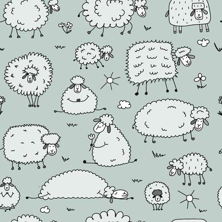 Ilustración de Flock of sheeps, seamless pattern for your design - Imagen libre de derechos