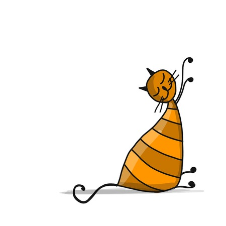 Illustrazione per Cute striped cat, sketch for your design - Immagini Royalty Free