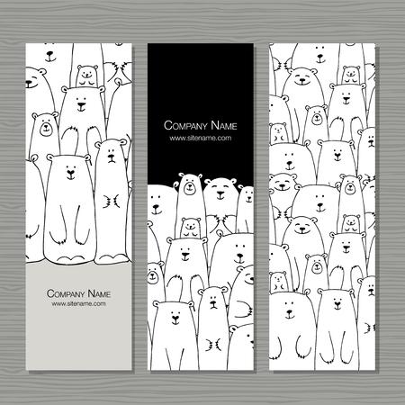 Ilustración de Greeting cards design, polar bears family. - Imagen libre de derechos