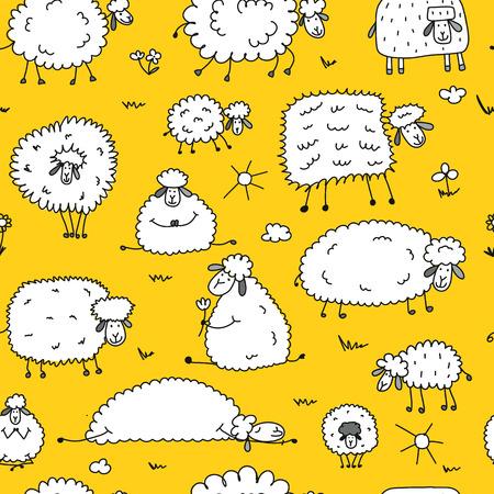 Ilustración de Flock of sheep, seamless pattern for your design. - Imagen libre de derechos