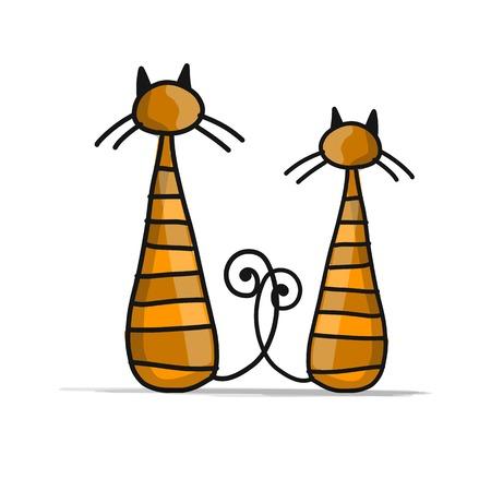 Ilustración de Cute striped cats, sketch for your design. - Imagen libre de derechos