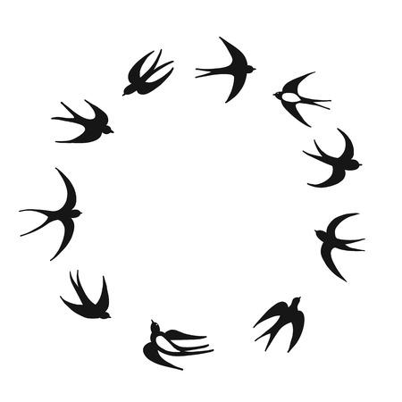 Ilustración de Swallows, sketch for your design - Imagen libre de derechos