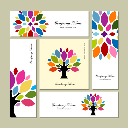 Illustration for Business cards collection, art tree design. - Royalty Free Image