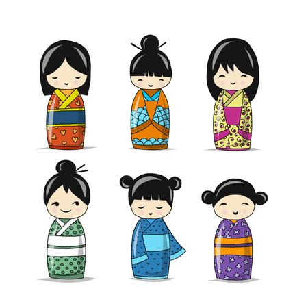 Illustration pour Japanese dolls collection, sketch for your design - image libre de droit