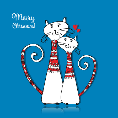Illustrazione per Couple of cats in cozy sweaters. Christmas card design - Immagini Royalty Free
