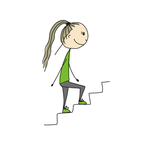 Foto de Girl climbs stairs, sketch for your design - Imagen libre de derechos