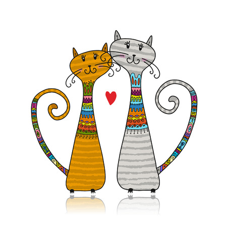 Illustrazione per Couple of cats in cozy sweaters, sketch for your design - Immagini Royalty Free