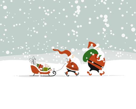 Foto de Santa brothers in winter forest. Christmas card - Imagen libre de derechos