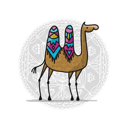 Illustration pour Camel, sketch for your design - image libre de droit
