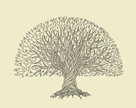 Illustration for Big tree with roots for your design - Royalty Free Image