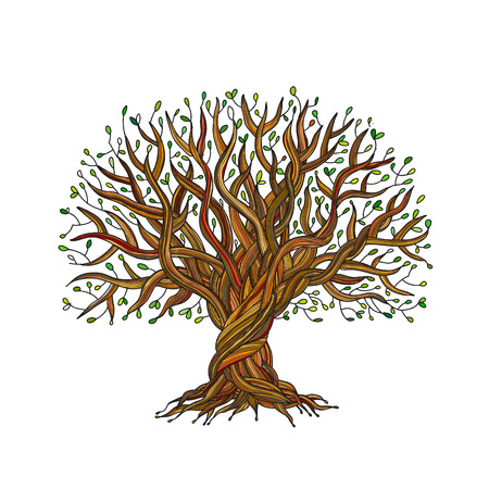 Illustration pour Big tree with roots for your design. Vector illustration - image libre de droit
