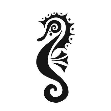 Illustration pour Seahorse silhouette, sketch for your design. Vector illustration - image libre de droit