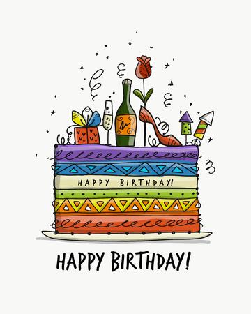 Illustration pour Birthday cake, postcard for your design. Vector illustration - image libre de droit