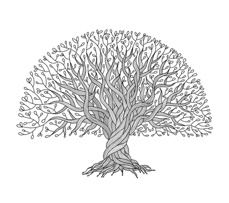 Ilustración de Big tree with roots for your design - Imagen libre de derechos