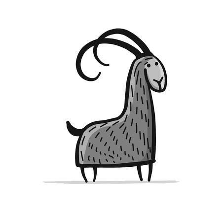Ilustración de Funny goat, simple sketch for your design - Imagen libre de derechos