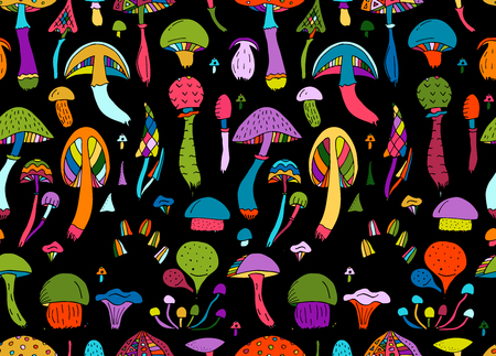 Illustration for Mushrooms, seamless pattern for your design. Vector illustration - Royalty Free Image