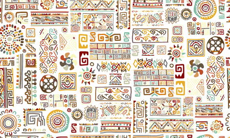 Illustration pour Ethnic handmade ornament, seamless pattern Vector illustration. - image libre de droit