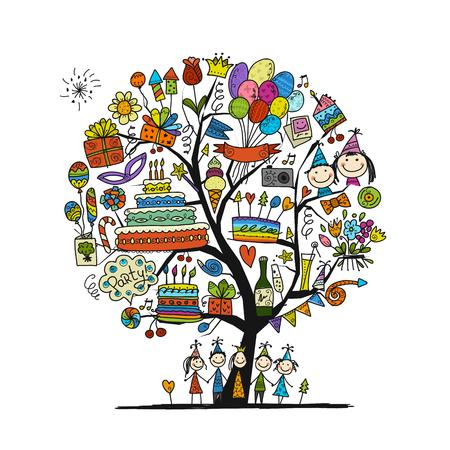 Ilustración de Birthday party tree for your design. - Imagen libre de derechos
