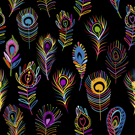 Illustration for Peacock feathers seamless pattern on dark background. - Royalty Free Image