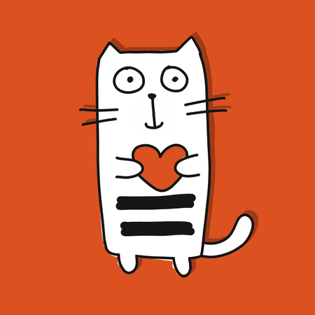 Illustrazione per Funny cat with heart, sketch for your design. - Immagini Royalty Free