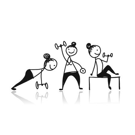 Ilustración de Girls doing sport exercises, sketch for your design. - Imagen libre de derechos