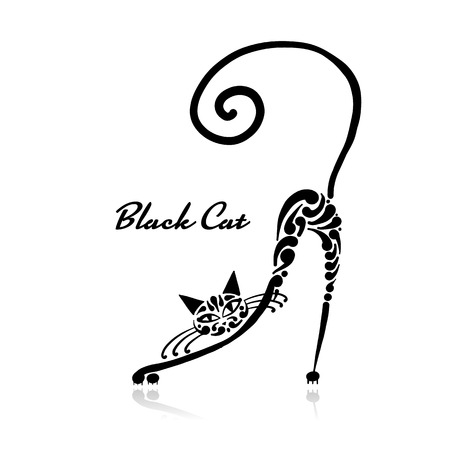 Illustrazione per Black cat design. Vector illustration art - Immagini Royalty Free