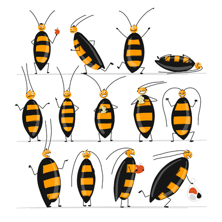 Illustrazione per Funny cockroaches set for your design. Vector illustration - Immagini Royalty Free