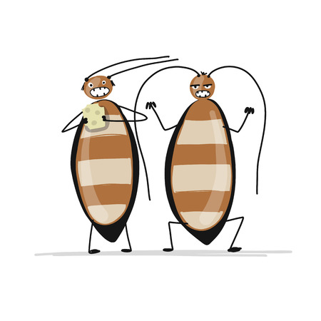 Ilustración de Funny cockroaches for your design. Vector illustration - Imagen libre de derechos