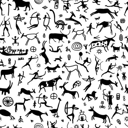 Illustration pour Rock paintings with ethnic people, seamless pattern - image libre de droit