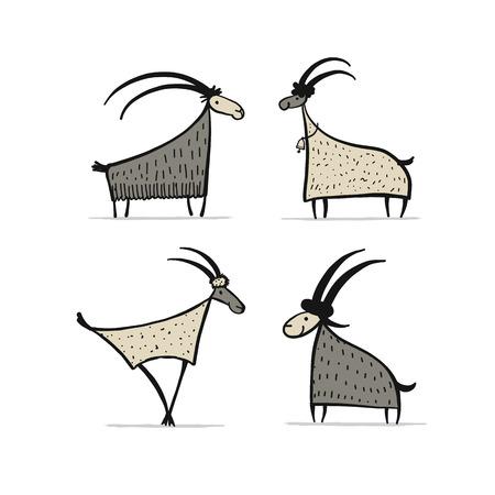 Ilustración de Goats and rams collection for your design - Imagen libre de derechos