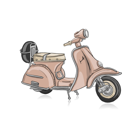 Photo for Vintage scooter, sketch for your design - Royalty Free Image