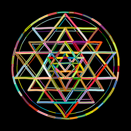 Illustration pour Sacred geometry and alchemy symbol Sri Yantra. Hand drawn sketch for your design - image libre de droit