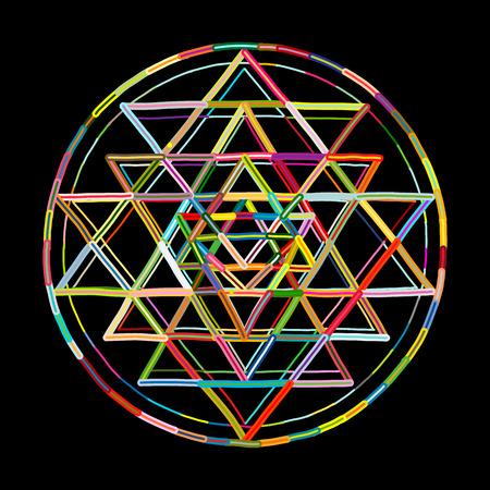 Ilustración de Sacred geometry and alchemy symbol Sri Yantra. Hand drawn sketch for your design - Imagen libre de derechos