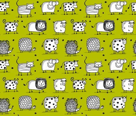 Ilustración de Funny animals, seamless pattern for your design - Imagen libre de derechos