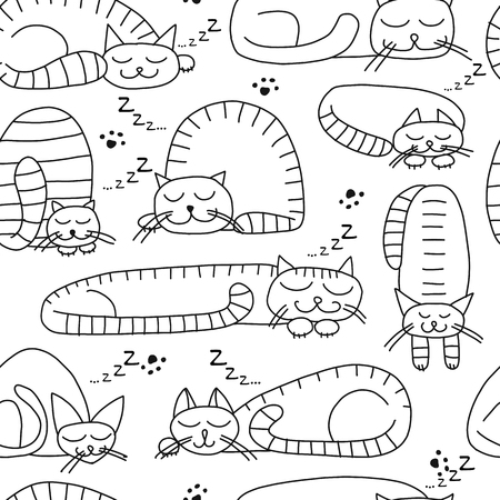 Illustrazione per Sleeping cats, seamless pattern for your design - Immagini Royalty Free