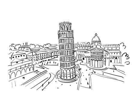 Illustration pour Leaning tower of Pisa, Italy. Sketch for your design - image libre de droit
